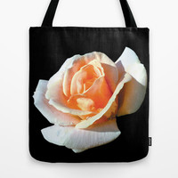 pretty yellow rose flower in black ground. Tote Bag by PatternWorld