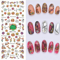 DS248 DIY Designer New Water Transfer Nails Art Sticker Cartoon Flowers Birth Element Nail Wraps Foil Sticker manicure stickers