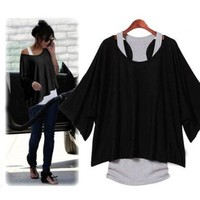 2 PCS T-Shirt +Tank Vest Sexy Women Batwing Blouses Casual Short Sleeve Loose Tops,Black,L