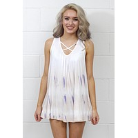 Tie Dye X-Mark Strappy Tank {Ivory Mix} - Size SMALL