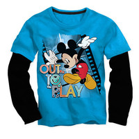 """Disney Boys Blue/Black Mickey Mouse """"Out To Play"""" Faux Layered Long Sleeve Graphic T Shirt - Toddler"""