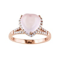 Rose Quartz & Cubic Zirconia Pink Rhodium-Plated Sterling Silver Heart Halo Ring