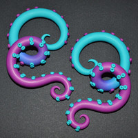 Octopus Tentacles Earrings / Fakers - Faux Gauges and Earrings for Stretched Lobes or Ear Plugs - Gauges, Ombre Gauges, Color Fade | 8534919