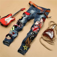 Men Embroidery Mosaic Rinsed Denim Jeans Straight Jeans [6541739459]