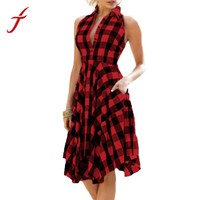 Womens Summer Vintage Bodycon Plaid Sleeveless Zipper Irregular Hem Evening Party Red Dress