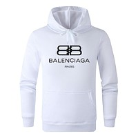 Balenciaga Tide brand new solid color men and women models hooded sweater White
