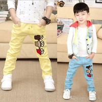2015 Spring Children Leisure Pants Boys Hole Design Long Pants Kids Clothes