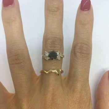 1.52 Carat Black Diamond Engagement in Marquise and Round Diamond Setting with Custom Matching Band 14K Yellow Gold by Luxinelle® Jewelry