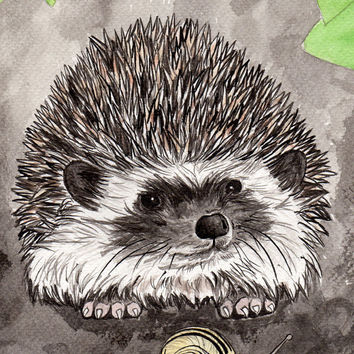 Hedgehog and snail artwork - high quality, lovely gift - Signed A5 Giclée Fine art print of Indian ink painting