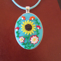 sunflower necklace,sunflower pendant,ready to ship jewelry,floral cameo,cameo necklace,artisan pendant,retro necklace,flower girl necklace