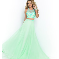 Blush Prom Honeydew Green Two Piece Beaded Crop Top & Long Skirt Prom 2015