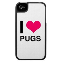 I Heart Pugs Case For The iPhone 4 from Zazzle.com