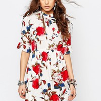 Young Bohemians Dress with 3/4 Sleeves and Ribbon Tie Neck at asos.com