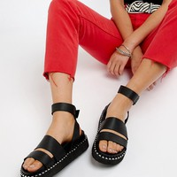 ASOS DESIGN Feebs leather chunky flat sandals at asos.com
