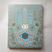 Hamsa hand -Gold and blue- fashionable acrylic canvas painting for trendy girls room or home decor