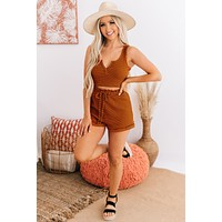 Just Hanging Around Striped Two Piece Set (Rust Stripe)