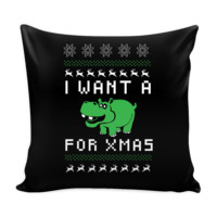 I Want A Hippopotamus For Xmas Funny Festive Ugly Christmas Holiday Sweater Decorative Throw Pillow Cases Cover(4 Colors)