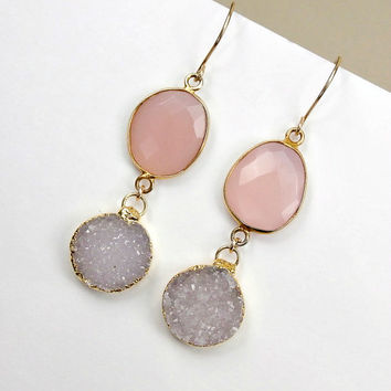 SALE 35% OFF Pink Chalcedony and Off White Druzy Quartz Earrings 14kt GF