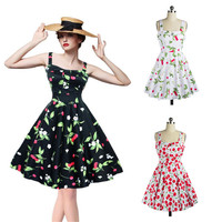 Women Vintage Floral Printed 50'S 60'S Swing Pinup Retro Party Housewife Sleeveless Dress