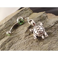 Turtle Belly Button Ring, Peridot Green Navel Jewelry Belly Ring