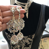 Huge Victorian Revival Ice & AB Crystal Rhinestone Chandelier Dangle Statement Earrings, Vintage Designer Glamour Jewelry