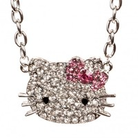 Hello Kitty Silver Small Thin Face & Bow Necklace w/ Crystal Rhinestones