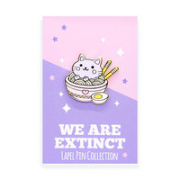 Ramen Noodles Foodie Cat - Hard Enamel Gold Lapel Pin Kawaii Kitty