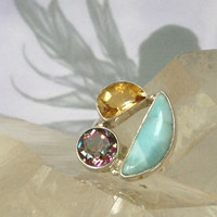 LARIMAR & MYSTIC Faerie kingdom Rings~Wicca Witchcraft~Magic spells~Mother Earth~Magic