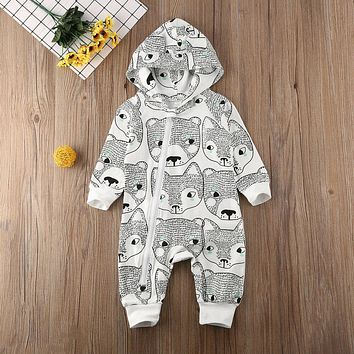 Winter Newborn Baby Girl Boy Fox Printed Clothes Hoodie Romper Jumpsuit Outfits