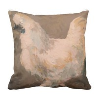 Silkie Chicken 16 X 16 Pillow painting by jac