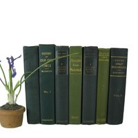 Green Decorative Books for Display, S/7