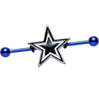 Licensed NFL Blue Anodized Dallas Cowboys Industrial Barbell 38mm