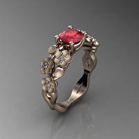 Nature Inspired 14K Rose Gold 1.0 Ct Ruby Diamond Floral Engagement Ring R1022-14KRGSDR