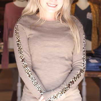 {Olive} Leopard on My Sleeve Top