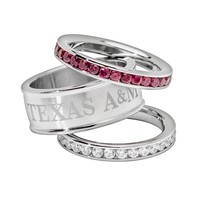LogoArt NCAA Texas A&M Aggies Stainless Steel Crystal Stack Ring Set