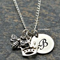 Queen Bee Necklace Sterling Silver & Natural Bronze - Friendship, Gift for Mom,