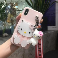 For samsung S9 plus kitty Case Cartoon mirror Hello Kitty Soft Phone Case For galaxy  S4/S5/S6/S7 edge/S8 KT toy stander Strap
