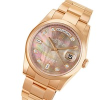 Rolex Day-Date 18k Rose Gold with Mother of Pearl Diamond Watch | World's Best