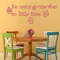 Housewares Vinyl Decal so Many Cupckes so Little Time Home Wall Art Decor Removable Stylish Sticker Mural Unique Design for Kitchen Backery Cafe Room