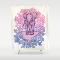 Cute Baby Elephant in pink, purple & blue Shower Curtain by micklyn