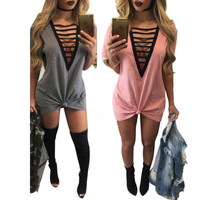 Fashion Hollow Bandage Sexy Solid Nightclub Clubbing Party Erotic One Piece Dress _ 11178