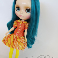 Candy Stripe Yellow and Coral Drop Waist Dress for Blythe from Sew Do Something