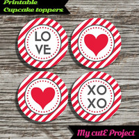 Love XOXO Heart - Cupcake toppers - Red & Grey - Oblique Stripes - Instant Download - Party printable - Party favor