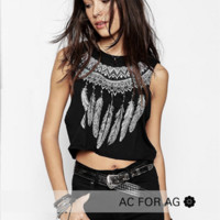 Feather Printed Cotton T Shirt B0014612