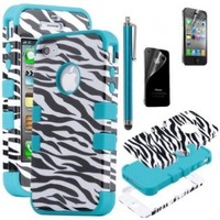 MagicSky 3-piece Hybrid High Impact Case Black Zebra Blue Silicone for Iphone 4 4s with Screen Protector and Stylus