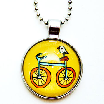 SALE: Yellow Bike Necklace - Bicycle Bird Necklace
