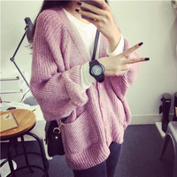 V-neck Long Sleeve knit Cardigan Sweater with Pocket