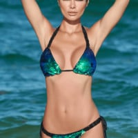 Notorious Swimwear Enchanter Blue Green Sequin Triangle Top & Cheeky Scrunch Bottom w/ Macrame Accents Bikini Set