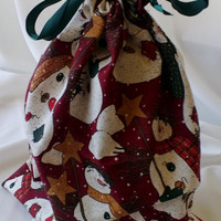 Snowmen Large Christmas Drawstring Fabric Gift Bag Upcycled, Reusable 9 1/2 X 11 1/2 Inches