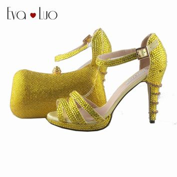 BS770  DHL Express Custom Made Yellow Crystal Shoes With Matching Bag Set Strappy Dress Sandal Women Shoes Bridal Wedding Shoes